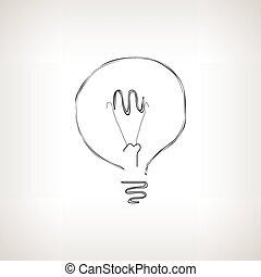 Silhouette lightbulb on a light background , vector illustration