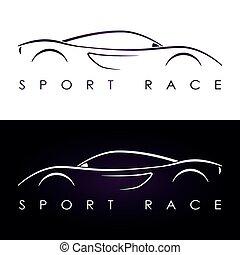 silhouette, lila, sport, dunkel, auto., weißes