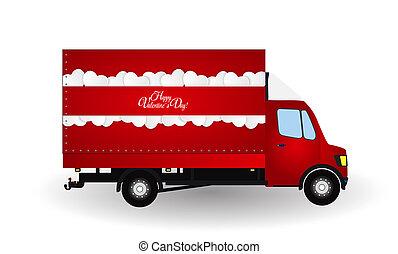 silhouette., lille, truck., rød, illustration.