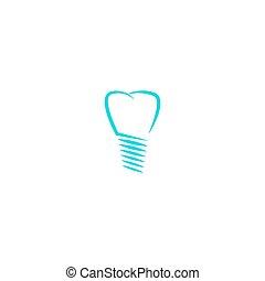 silhouette, linéaire, monde médical, dent, dentiste, conception, logotype, implant, dentaire, logo, icône