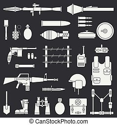 Silhouette. Line flat vector military icon set. Army equipment and weapons. Cartoon style. Assault. Soldiers. Armament. Ammunition. Retro. Vector illustration and element for your design and wallpaper