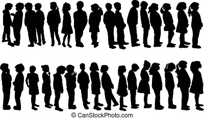 silhouette, linea, vettore, bambini, attesa