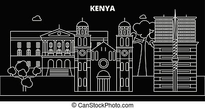 silhouette, linear, stadt, abbildung, kenianer, architektur...