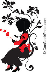 Silhouette little girl with love letter - Silhouette girl...