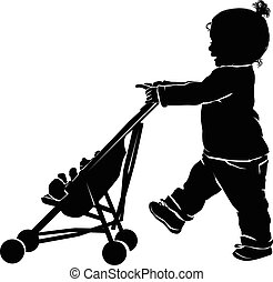 Silhouette little girl with teddy bear in stroller