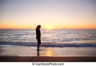 silhouette, littoral, femme