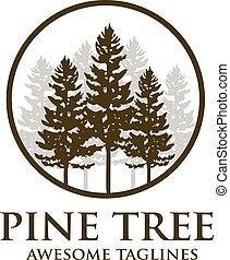silhouette, logo, baum, kiefer, draußen, reise, wald, grün