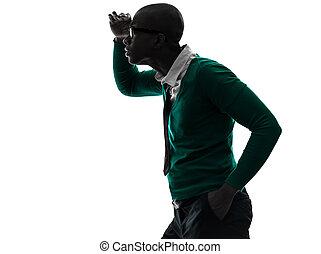 silhouette, loin, inquiété, regarder, noir, homme africain
