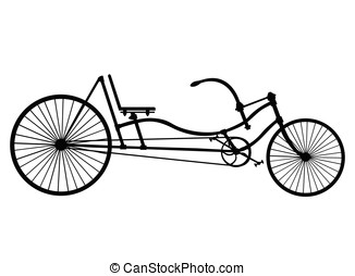 Silhouette Longrider retro bicycle isolated on white background. Vector illustration