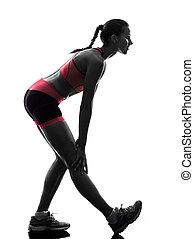 silhouette, loper, jogger, rennende , vrouw, jogging