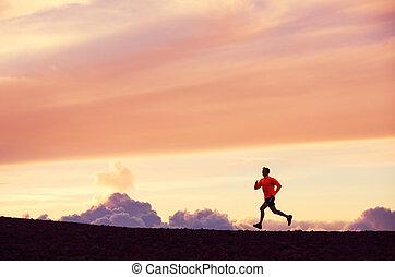 silhouette, loper, ondergaande zon , mannelijke , rennende