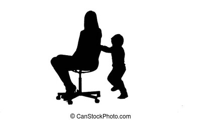 Silhouette Lovely portrait of a mother and son