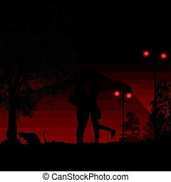 Silhouette loving couple on beautiful red night