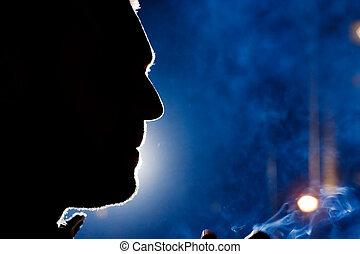 silhouette, lumière, homme, dramatique, close-up., figure, ...