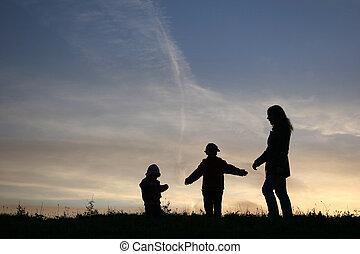 silhouette, mère enfants