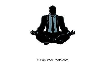 silhouette, méditer, homme affaires