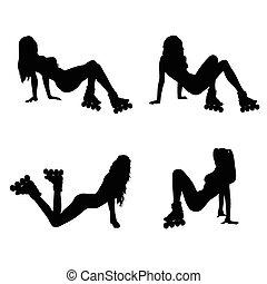 silhouette, m�dchen, vektor, satz