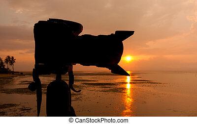 silhouette, macchina fotografica digitale