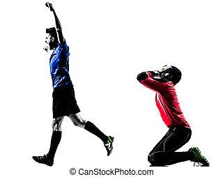 silhouette, maenner, zwei, konkurrenz, spieler, fußball, torwart