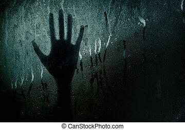 silhouette, main, fenêtre verre, toucher, barbouillage, ou