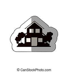 silhouette, maison, autocollant, deux, arbres, planchers