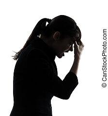 silhouette, mal tête, affaires femme, fatigué