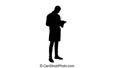 Silhouette Male doctor checking medical documents....