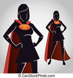 silhouette, mamma, figura, femmina, eroe, super