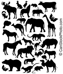 silhouette mammals - vector silhouette of mammals without...