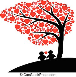 Silhouette man and woman under the tree of red hearts vector isolated on white background