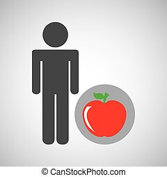 silhouette man apple nutrition healthy