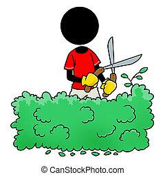 Silhouette-man at work - gardener