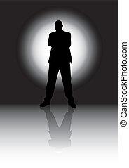 Silhouette man  - black and white silhouette