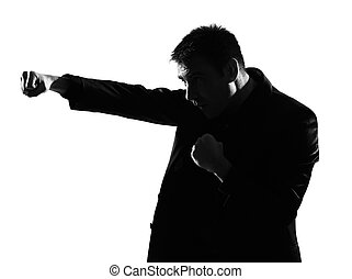 silhouette  man  boxing gesture