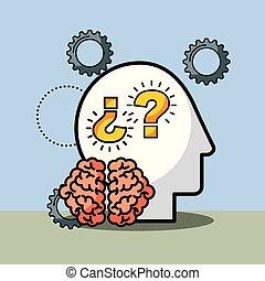 silhouette man brain questions creative idea vector...