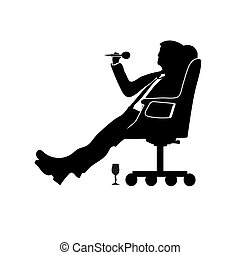 Silhouette man businessman sitting in a modern chair with one leg over the knee. Plays Darts. Success
