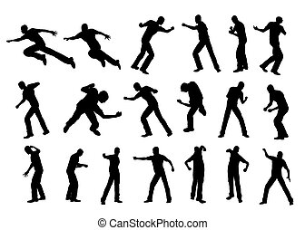 Silhouette man fighting - illustration: silhouette man...