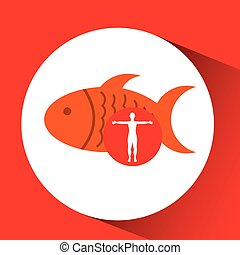 silhouette man fish food design