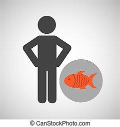 silhouette man fish nutrition healthy vector illustration...
