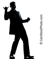 silhouette man full length happy saluting