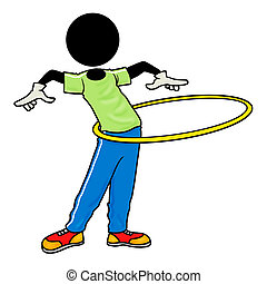exercise with hula hoop - Silhouette-man healthcare icon -...