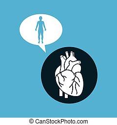 silhouette man heart anatomy body