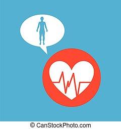 silhouette man heart pulse anatomy body