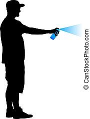 Silhouette man holding a spray on a white background. Vector illustration