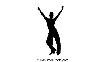 Silhouette man is dancing elements of rumba dance, slow motion