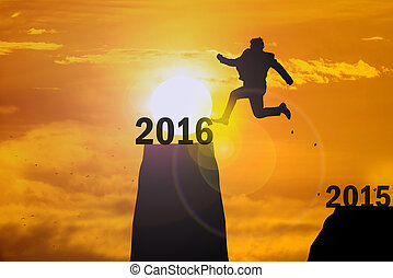 silhouette Man Jumping in sun rise from 2015 to 2016.