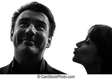 silhouette, man, kussende , vrouw, paar