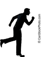 silhouette, man lopend, lengte, zakelijk, volle