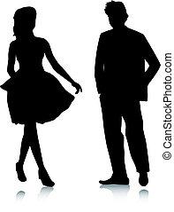 silhouette, man, meiden, vergadering
