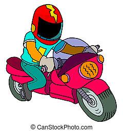 silhouette-man, motorfiets